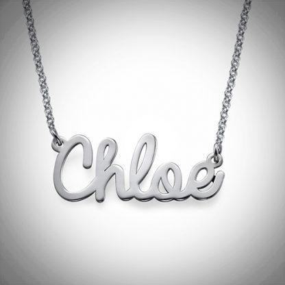 Flot navnehalskæde, sølv, chloe