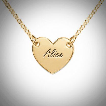 Hjerte, indgravering, navnehalskæde, romantik