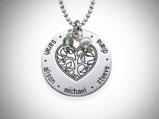 Hjertetræ, indgravering, navne, smykke